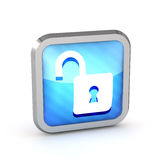 Blue open padlock striped icon Stock Image