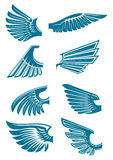 Blue open wings symbols for tattoo design Royalty Free Stock Image