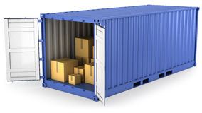 Blue opened container with carton boxes inside Royalty Free Stock Photos