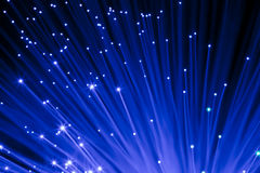 Blue optic fibers Stock Photo