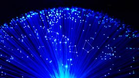 Blue optical fiber cables with shining tips stock images
