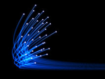 Blue optical fibres. On black background Stock Image