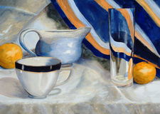 Blue and Orange. A watercolor still life painting Stock Photos