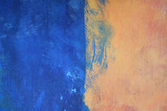 Blue and Orange. Color Blocks of Blue and Orange Paint on Plaster Wall royalty free stock photography