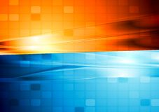 Blue and orange abstract tech design Stock Photography