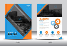Blue and Orange Annual report template,cover design,brochure Stock Photography