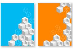 Blue and orange backgrounds with abstract geometric pattern. Blue and orange backgrounds with white abstract 3d geometric pattern. Vector paper illustration.rr Stock Photos