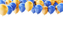 Blue and orange balloons isolated on white background. 3d renderer illustration. Blue and orange balloons  isolated on white background Royalty Free Stock Photos