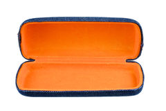 Blue and orange box for glasses isolated Royalty Free Stock Image