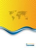 Blue orange brochure with world map Royalty Free Stock Image