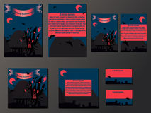 Blue and orange brochures and business cards with halloween castle. Nice vector illustration Royalty Free Stock Photography