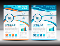 Blue and orange business brochure flyer design layout template i Royalty Free Stock Photos