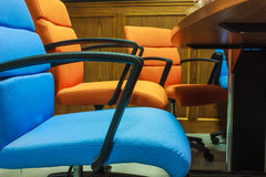 Blue and orange chairs Stock Photo