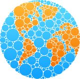 Blue and orange circle globe. Globe outline made from blue and orange round patches Royalty Free Stock Photo
