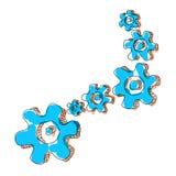 Blue and orange Cogwheel chain spinning Royalty Free Stock Photo