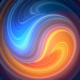 Blue and orange colored twisted shape. Computer generated abstract geometric 3D render illustration. Blue and orange colored abstract twisted shape. Computer Royalty Free Stock Images