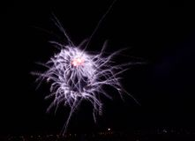 Blue orange colorful fireworks isolated in black background,square photo, fireworks in Malta,fireworks festival,long exposure Stock Image