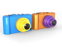 Blue and orange compact digital photo cameras Stock Photos