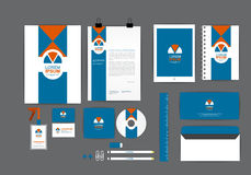 Blue and orange corporate identity template Royalty Free Stock Photography