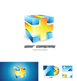Blue orange cube abstract 3d logo design Stock Images