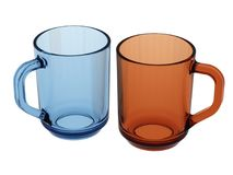 Blue and orange cup. Two Isolated empty cups (3d render Royalty Free Stock Photos