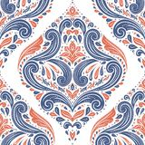 Blue and orange damask seamless pattern on a white background. Paisley elements. Ornament. Traditional, Ethnic, Turkish, Indian motifs. Great for fabric and Royalty Free Stock Photo