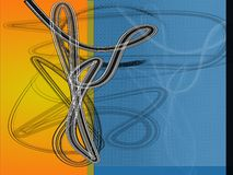 Blue orange design. Blue shape design with effects stock illustration