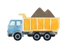 Blue and orange dump truck Royalty Free Stock Images