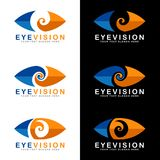 Blue and orange eye vision logo signs on white and black background vector art design Stock Photography