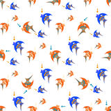 Blue and orange fish on a white background Stock Image