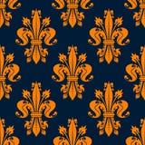 Blue and orange fleur-de-lis seamless pattern Stock Photo