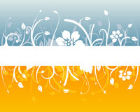 Blue and orange floral design. With blank white space Stock Photos