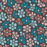 Blue and orange flower seamless pattern. Vector illustration Royalty Free Stock Images