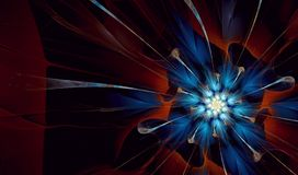 Blue and Orange Flower Vortex fractal art. Fractorium rendered fractal art used for abstraction colour used Black, White, Blue, Orange, Red Vector Illustration