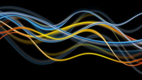 Blue and orange glowing abstract waves video animation stock video