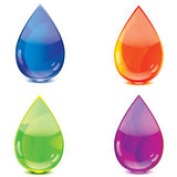 Blue orange green purple drops icon. Set Stock Photo