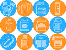 Blue and orange icons for sports nutrition Stock Photo