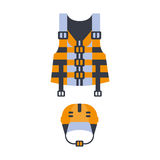 Blue And Orange Life Vest And Helmet, Part Of Boat And Water Sports Series Of Simple Flat Vector Illustrations Royalty Free Stock Images