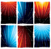 Blue and orange light bursts. A collection or collage of various artistic orange and blue light bursts Stock Photography