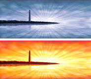 Blue and orange lighthouse banners Royalty Free Stock Photography
