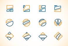 Blue orange logo elements icon set Royalty Free Stock Photo