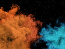 Blue and orange nebulas and stars in cosmos Stock Image