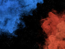 Blue and orange nebulas and stars in galaxy Royalty Free Stock Photos