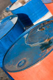 Blue and orange oil barrels (2) Stock Image