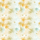 Blue and orange palms and waves summer seamless pa. Seamless summer pattern vector illustration of blue and orange palms and waves vector illustration