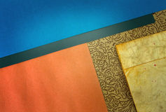 Blue orange paper. Papers with wrinkles  and flourish design geometric Royalty Free Stock Images