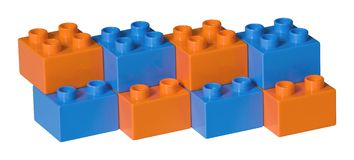 Blue and orange plastic toy bricks Stock Photography