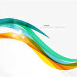 Blue, orange, red swirl wave lines. Light design Stock Photos