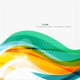 Blue, orange, red swirl wave lines. Light design. For art project Stock Image