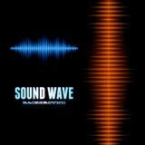 Blue and orange shiny sound waveform background. With sharp peaks Stock Image